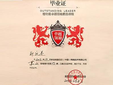 杭州懒人沙发家具厂尚都家居 获阿里巴巴橙功卓越领袖毕业证