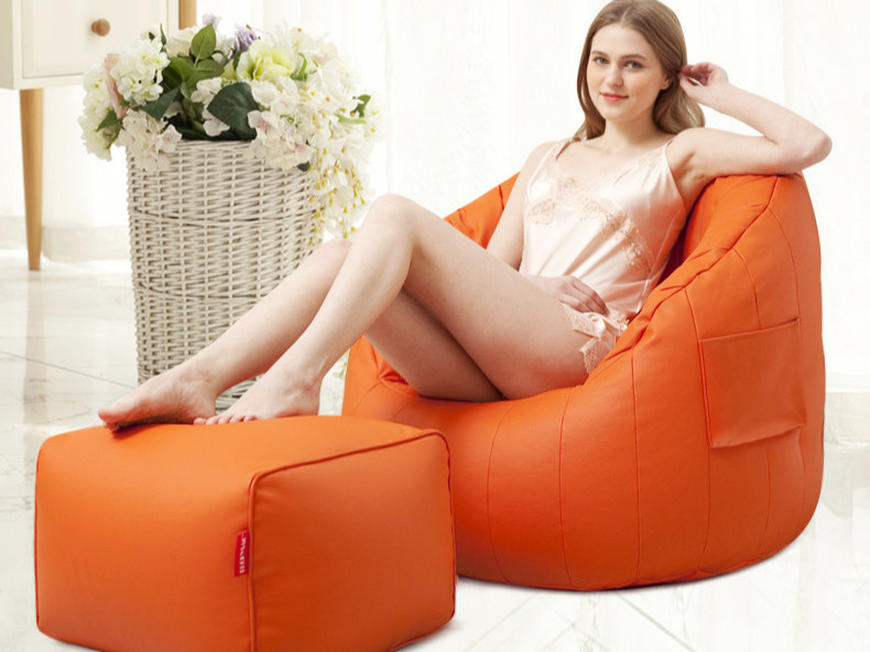 半弧型皮革懒人沙发