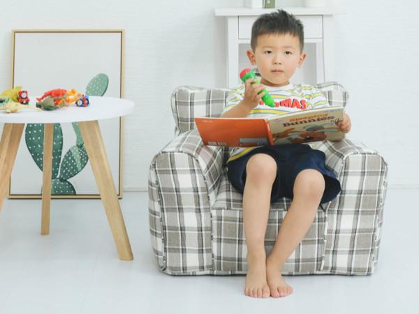 儿童格子方形沙发